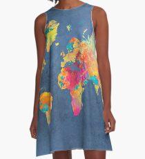 blue world map A-Line Dress