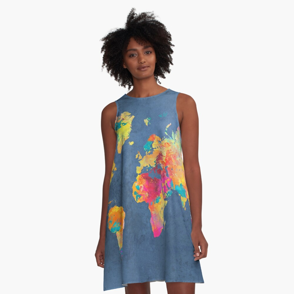 blue world map #map #worldmap | A-Line Dress on map black, map rail, map blouse, map travel, map jacket, map skirt, map sweatshirt, map art, map vest, map clothing, map fabric, map shirt, map costume, map games, map school, map shoes, map history, map with title, map pants,