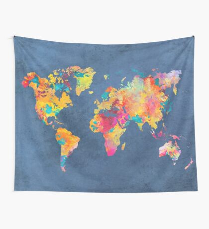 blue world map Wall Tapestry