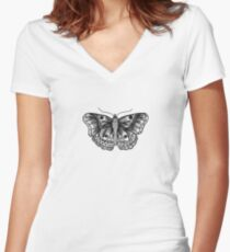 Butterfly tattoo Fitted V-Neck T-Shirt