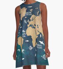 Oceans Life World Map blue A-Line Dress