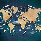 Oceans Life World Map blue by JBJart