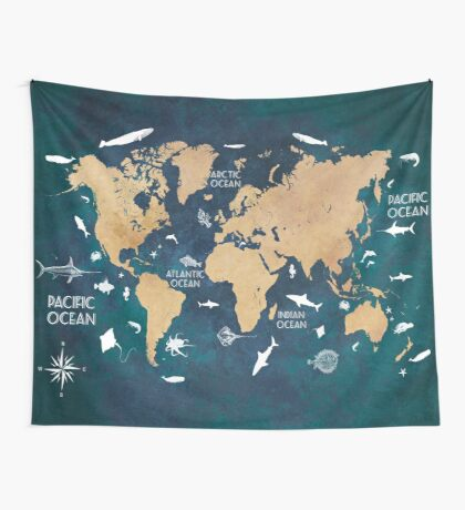 Oceans Life World Map blue Wall Tapestry