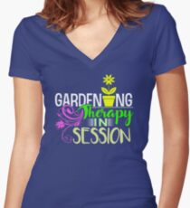 Gardening Therapy in Session Graphic Women's Fitted V-Neck T-Shirt