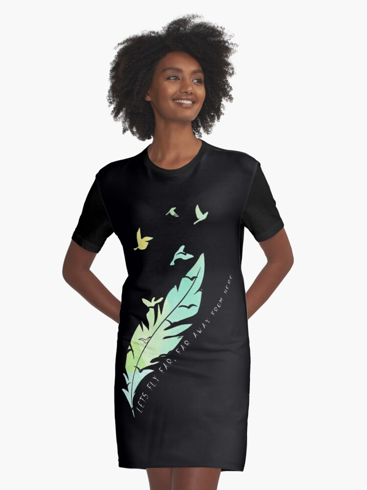 Let's Fly Far, Far Away From Here Graphic T-Shirt Dress Front