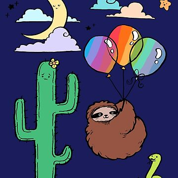 Rainbow Balloons Sloth Desert Night by SaradaBoru