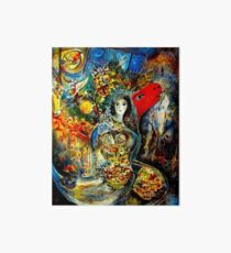 BELLA : Marc Chagall Vintage Abstract Painting Print Art Board