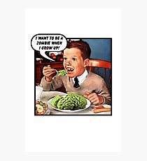 Little Tommy Always Eats His Greens! Photographic Print