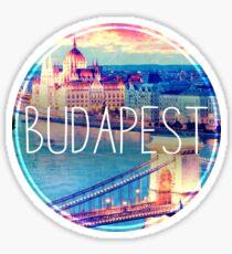 Budapest, Ungarn, Hängebrücke und Parlament, Budapest Aufkleber, Kreis Sticker
