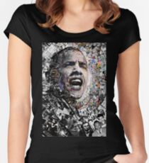 """""""I Am Not A Perfect Man"""", Obama Civil Rights and Protest Collage Women's Fitted Scoop T-Shirt"""