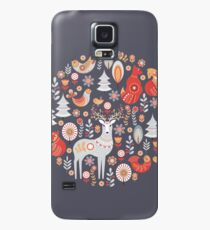 Fairy-tale forest. Foxes, deer, birds, owls,  flowers and herbs on a blue background.  Case/Skin for Samsung Galaxy