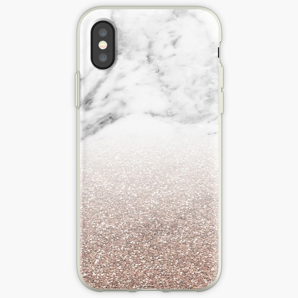 Rose Gold Glitter auf Marmor iPhone-Hülle & Cover