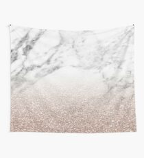 Rose gold glitter on marble Wall Tapestry