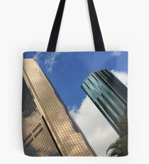 Gold and blue sky scrapers of Brisbane Tote Bag