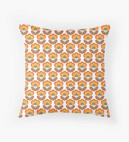 Orange and Green Flowers Retro Pattern Throw Pillow