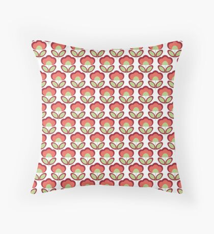 Red Flowers Retro Pattern Throw Pillow