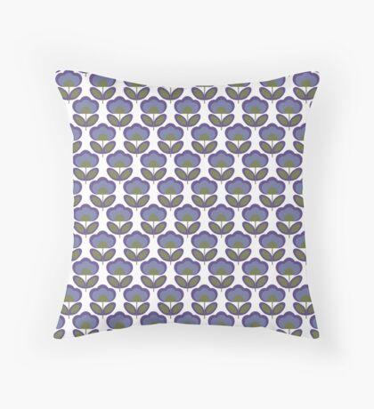 Ultra Violet Flowers Retro Pattern Throw Pillow