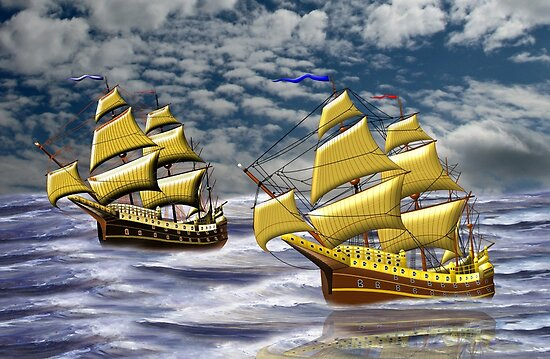 Two Ships of the Line Heading for Battle by Dennis Melling