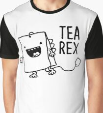Tea Rex Tea Bag Funny Pun Cartoon Graphic T-Shirt