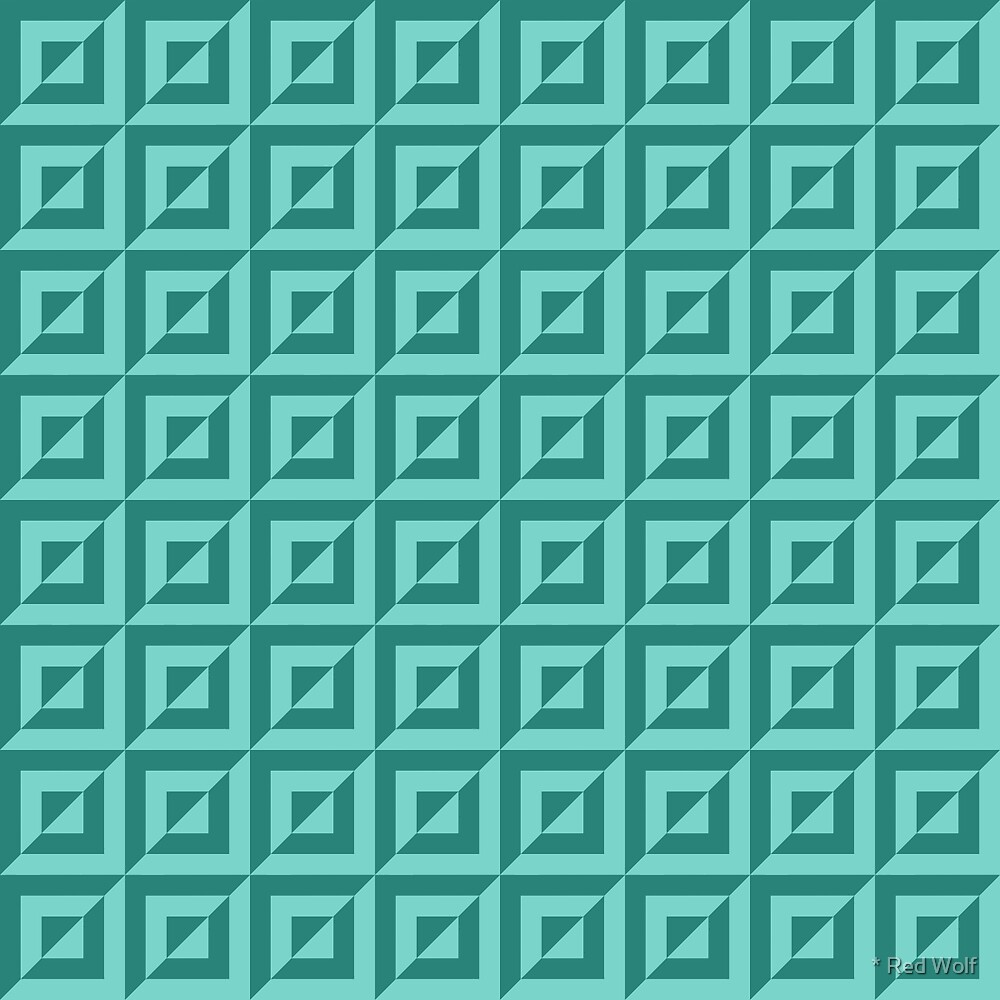 Geometric Pattern: Square Split: Green by * Red Wolf