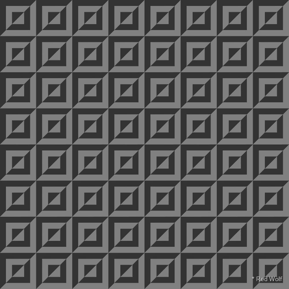 Geometric Pattern: Square Split: Grey by * Red Wolf