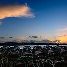 Lobster pots at sunset on Cunnamore pier viewing Heir Island, West Cork, Ireland by Andrew Jones