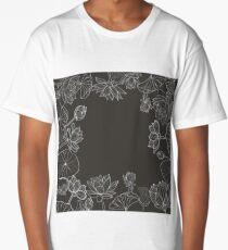 Monochrome hand drawn floral frame.  Long T-Shirt