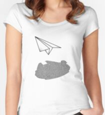Paper Plane M Falcon Shadow - Black Print Women's Fitted Scoop T-Shirt