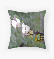 Orchids and Butterfly  Throw Pillow