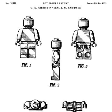 Lego figure Patent Drawing Blueprint by Vintago