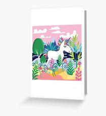 Beautiful magic forest scene with Cute Magical Unicorn. Greeting Card