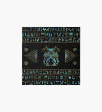 Ägyptische Katzen Gold und Blau Glasmalerei Galeriedruck