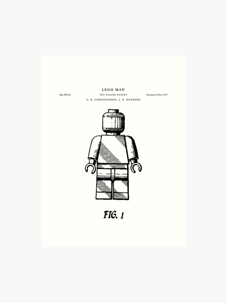 Lego man Patent Drawing Blueprint | Art Print