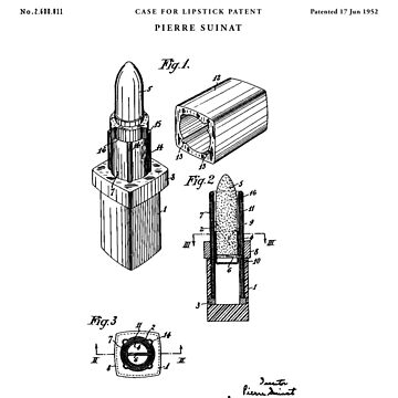 Lipstick Patent Drawing Blueprint by Vintago