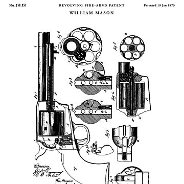 revolver Patent Drawing Blueprint by Vintago