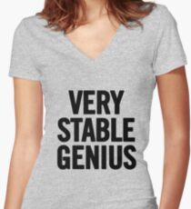 Very Stable Genius Women's Fitted V-Neck T-Shirt