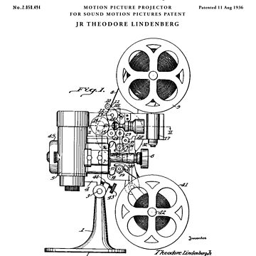 film Patent Drawing Blueprint by Vintago