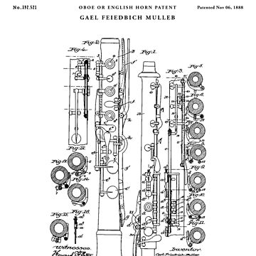 Oboe Patent Drawing Blueprint by Vintago