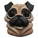 3D Pug Illustration (Beige) by a4matic