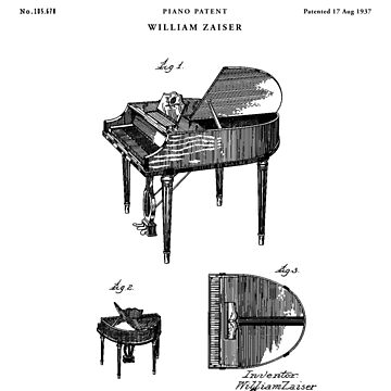 Piano Patent Drawing Blueprint by Vintago