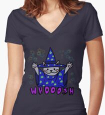 Whooosh magic cat  Fitted V-Neck T-Shirt