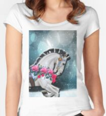 Portrait of rocking horse in the stars Women's Fitted Scoop T-Shirt