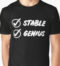 Stable Genius Check White Graphic T-Shirt