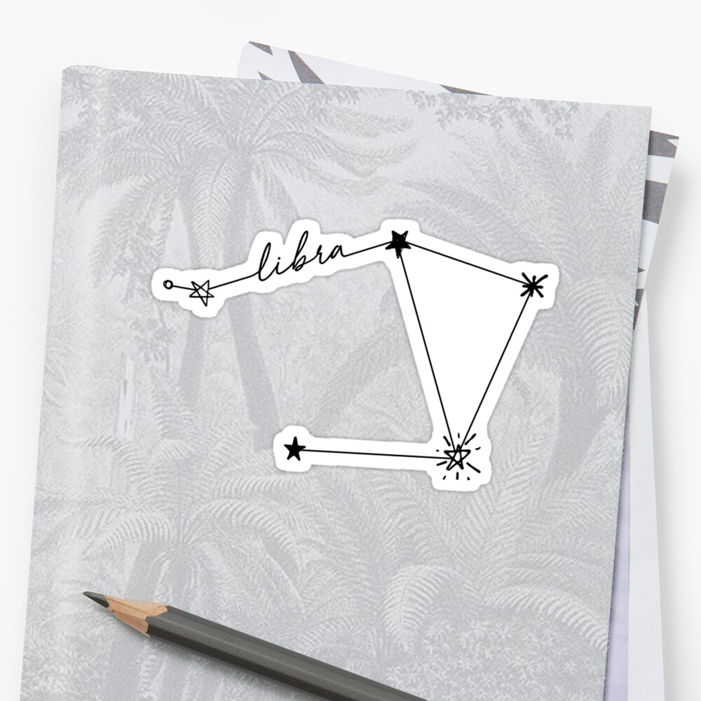 Quot Libra Constellation Drawing Sticker Quot Sticker By