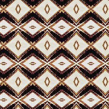 Cream brown black maroon diamond pattern A475B by byNicol