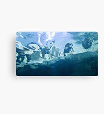 Penguin through water Canvas Print