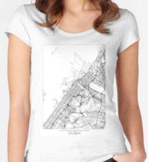 Dubai Map Minimal Women's Fitted Scoop T-Shirt