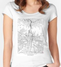 Sydney Map Minimal Women's Fitted Scoop T-Shirt