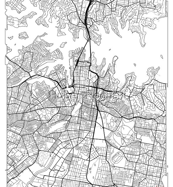 Sydney Map Minimal by HubertRoguski