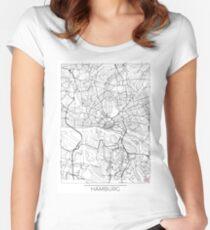 Hamburg Map Minimal Women's Fitted Scoop T-Shirt